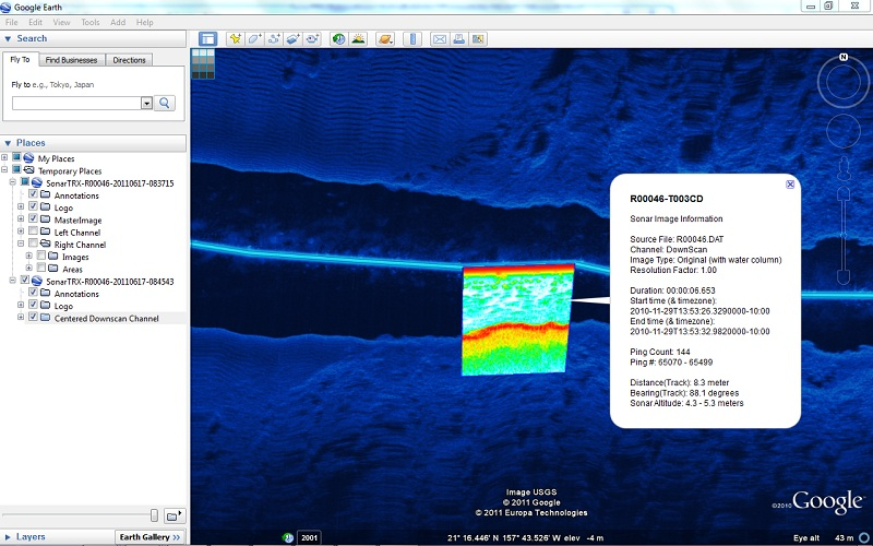Master Image combined with single (Humminbird Down Imaging) image tile